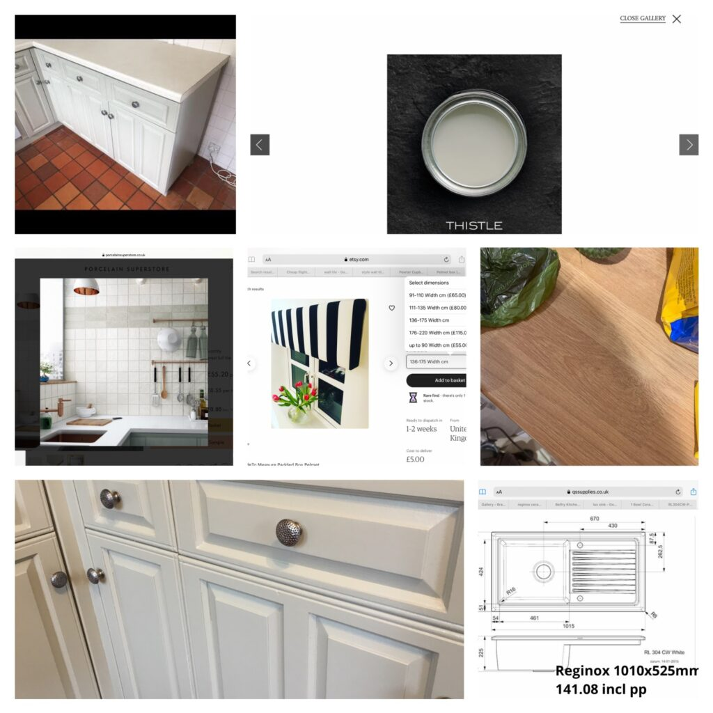 A collage of kitchen ideas including tiles, worktop and sink.
