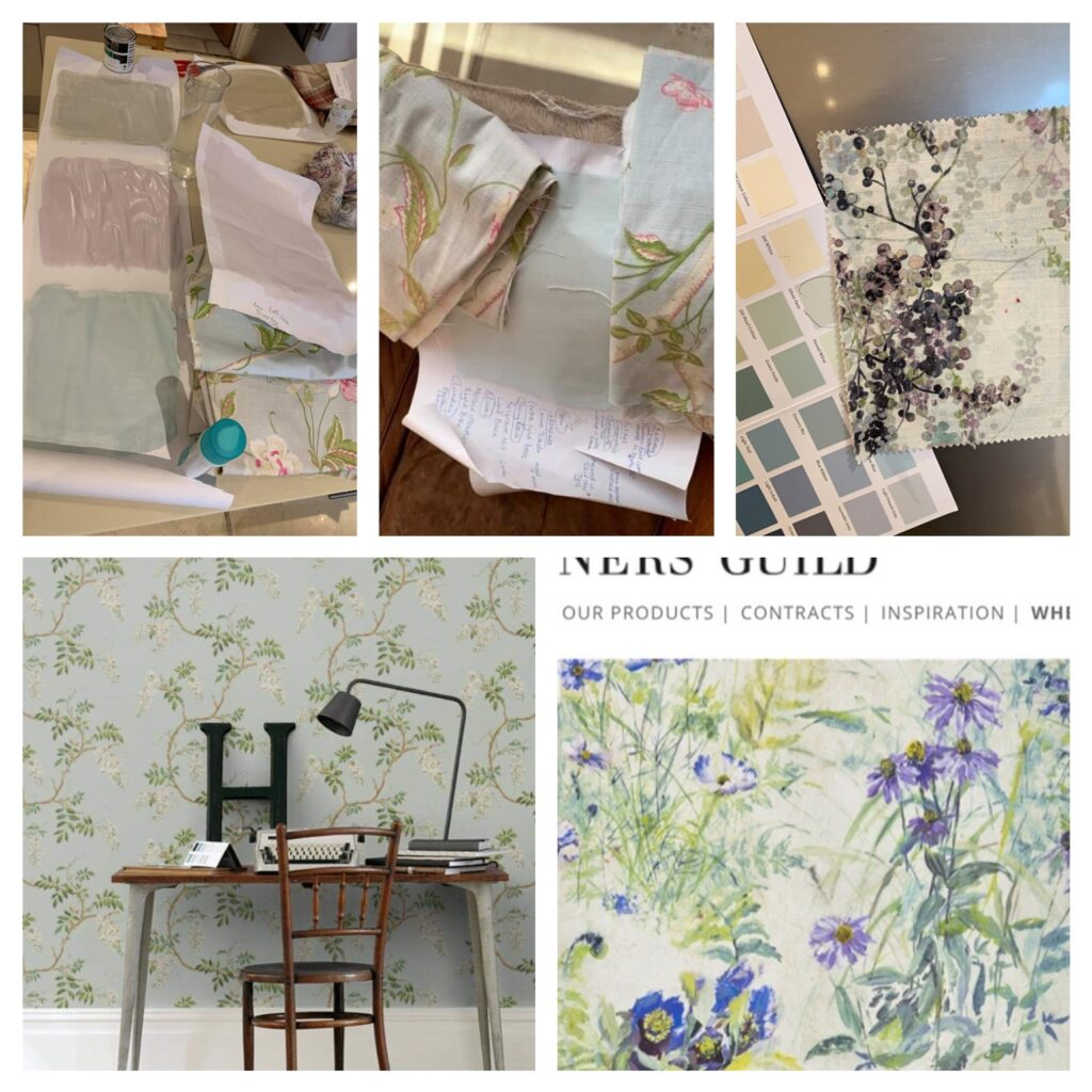 A collection of colour charts, Laura Ashley fabric and designer wallpapers